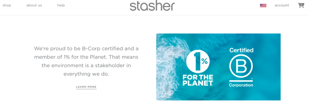 Stasher features a section on their home page that explains their B-Corp certification